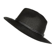 River Island Womens Black straw plaited trim fedora hat