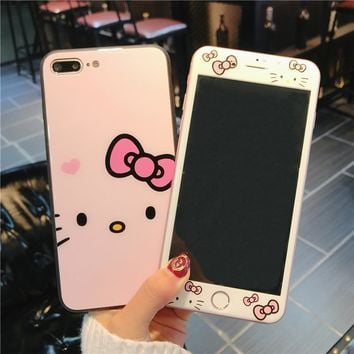 For iphone 8 /7 plus glass back case pink Hello Kitty tempered glass + Cover for Apple iPhone 8plus 6  6sPlus color screen film