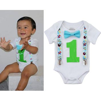 Airplane First Birthday Outfit Baby Boy - Plane Theme Shirt