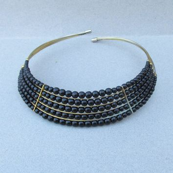 1970's Egyptian Revival Vintage 5 Row Black Bead Brass Collar Necklace