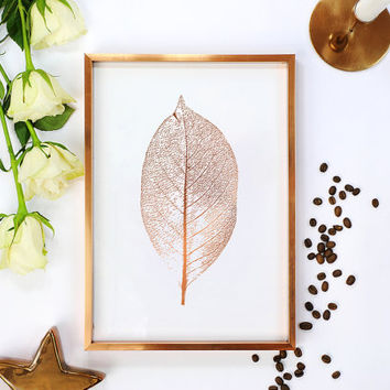Leaf Print, Botanical Leaf Print, Minimalist Art, Real Gold Foil, Leaf Poster, Modern Wall Print, Botanical Poster, Gold Wall Decor, 11x17