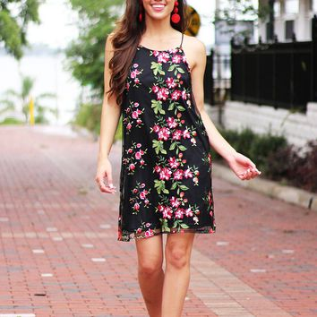 Give It All Embroidered Floral Dress (Black)