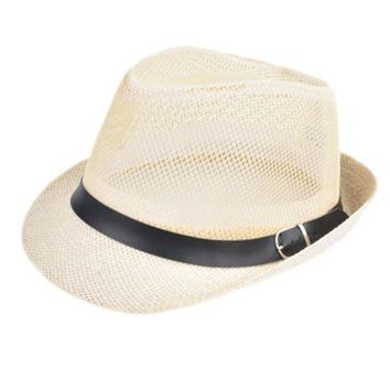 Summer Straw Bucket Hat For Male Jazz Visor Cap For Gentleman Dad Hat Plus Size Mesh Flat Homburg Beach Hat Gorras