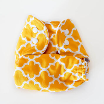 The Stitching Stork one size OS pocket cloth Diaper -Not your grandmas curtains (yellow)