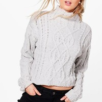 Hannah Cable Knit Funnel Neck Jumper | Boohoo