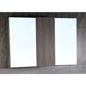 48 in. Wood framed mirror with cabinet