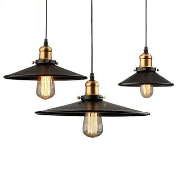 Loft RH Industrial Warehouse Pendant Lights American Country Lamps Vintage Lighting for Restaurant Bedroom Home Decoration Black