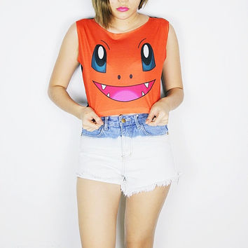 Pokemon Evolution Charmander crop top tank shirt women S M L