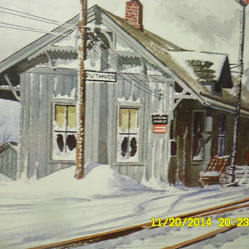 Vintage 1967 Artist D Darr Lithograph USA Ruthven Australia Railway Train Station Winter Scene Litho Board Print Picture Railroad Christmas
