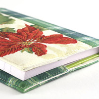 Fabric Journal Cover - Christmas Bright Red Poinsettia - Handmade A6 Notebook Diary Cover Green Tartan