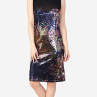 Black & Multi Floral Sequin Sweetheart Mesh Dress