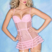 Be Wicked Lingerie Candy Pink Sheer Chemise