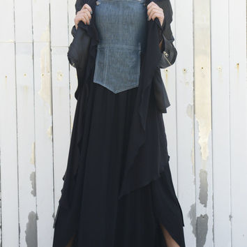 NEW COLLECTION S/S 15! Long Dress with Denim Element/ Loose Dress/ Sleeveless Black Dress