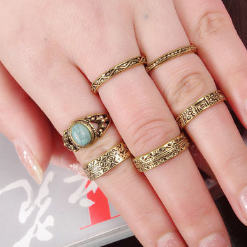 Vintage Ethnic Old Gold Ring Retro 6 Pcs Rings AnaeCadeau Gift-180