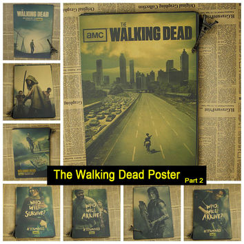 The Walking Dead Anime TV Vintage Retro Matte Kraft Paper Antique Wall Poster Sticker Home Decore