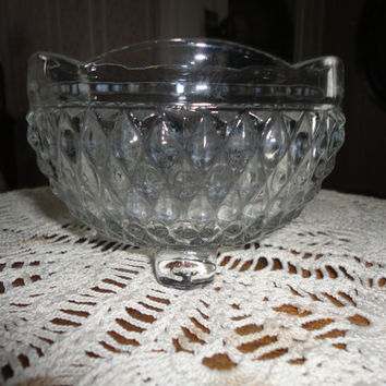 Vintage Footed Scalloped Edge Cut Glass Candy Trinket Dish