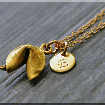 Gold Fortune Cookie Charm Necklace, Initial Charm Necklace, Personalized Jewelry, Fortune Cookie Pendant, Monogram Lucky Charm Necklace