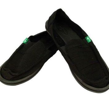 MDIGYW3 Sanuk Shuffle Black Slip-On Shoes