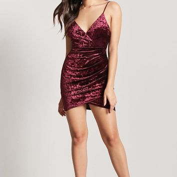 Crushed Velvet Surplice Cami Dress