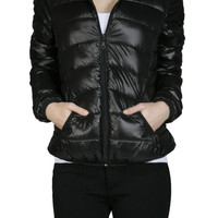 Long Sleeve Zip Up Hooded Down Puffy Jacket