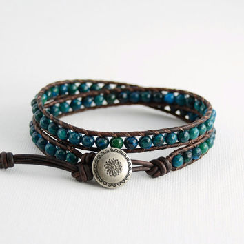 Beaded bracelet. Bohemian dark green blue wrap bracelet. Double loop bracelet