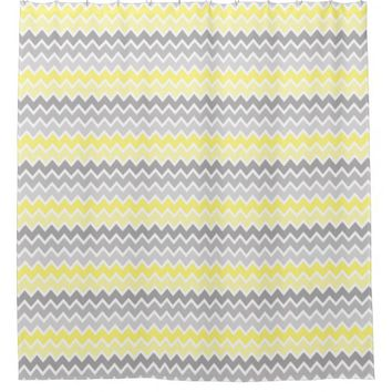 Yellow Grey Gray Ombre Chevron Shower Curtain