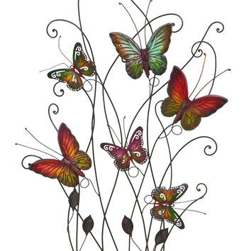 "Gorgeous And Radiant Multicolored Butterflies Wall Decor 32""H, 20""W"
