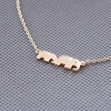 elephant necklace. everyday family necklace. for mom. tiny small petite dainty minimalist charm jewelry. no181