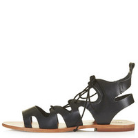 FIG Lace Up Sandals - Black