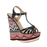 London Rebel | London Rebel Wedge Aztec Print Heeled Sandals at ASOS
