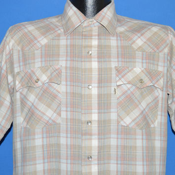 90s Levi's Brown Pink Plaid Western Pearl Snap Shirt Medium