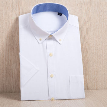 Summer Men's Short-Sleeve Solid Oxford Dress Shirt with Left Chest Pocket Business Slim-fit Button-down Shirts