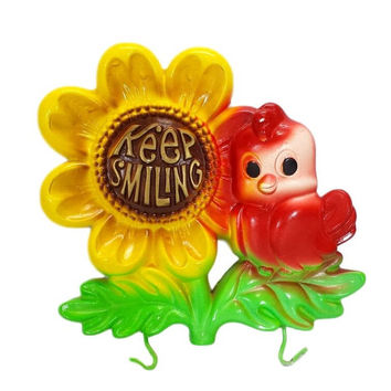 Chalkware Bird Keep Smiling Wall Plaque Hanger Hooks Vintage Sunflower 1974 Miller Studio Retro Kitchen Glamper Glamping Travel Trailer RV
