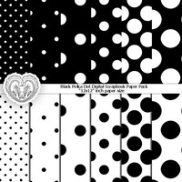 Black Polka Dotted Digital Scrapbooking Paper Goods - black and white background