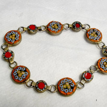 Mini Mosaic Bracelet From Italy, Marked on Reverse, Gold Wash over Silver, Clasp Repair Done