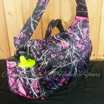 Large pink Camo muddy girl diaper bag