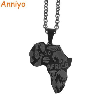 Black Color Map of Africa Necklace