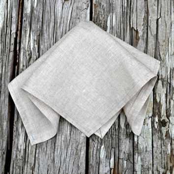 Oatmeal Linen Handkerchief, Irish Linen Handkerchief, Unbleached Pocket Square, Formal Pocket Square, Linen Pocket Square Linen Hankerchief,
