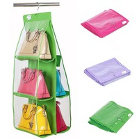 6 Pocket Clear Shelf Bags Purse Handbags Organizer Door Hanging Storage Closet Hanger