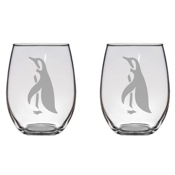 Penguin Engraved Glasses, Antarctica, Zoo, Animal Gift Free Personalization