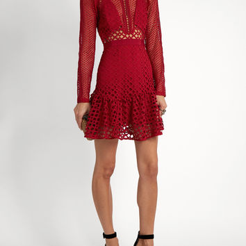 Red Ruffled Lace Mini Dress