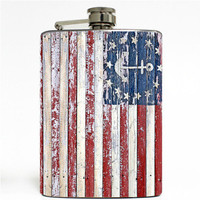 Nautical American Flag Stainless Steel 8oz Hip Flask