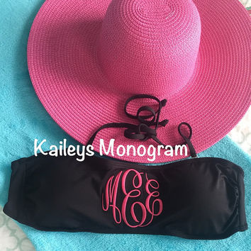 Monogrammed Bathing Suit Top Bandeau Bikini Top Bathing Suit Black Swimwear Swim Wear Personalized Kaileys Monogram