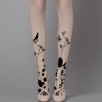 Raven & Flowers Tattoo Tights
