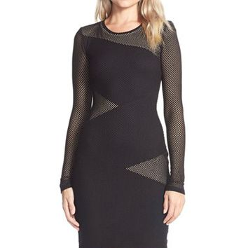 Women's BCBGMAXAZRIA Mesh Body-Con Dress,