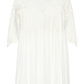 SEA - Trellis guipure lace-paneled crinkled-gauze dress
