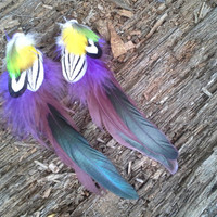 Vibrant, Feather Earrings, Real feather earrings, Purple, blue, yellow, Gypsy earrings, Neon Feather Earrings,