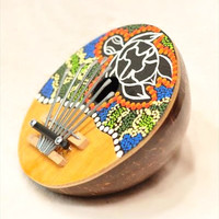 Coconut Carved Painted Karimba