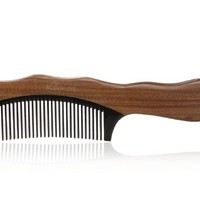 "Karsd Hair Combs Green Sandal Wood Comb & Natural Black Ox Horn Comb 7.2"" Handle Fine Tooth Comb"