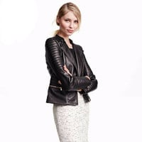 Autumn Winter Women Leather Slim Outerwear Jacket a13158